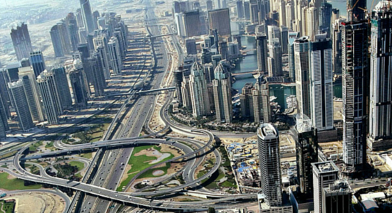 Dubai Roads Aerial View